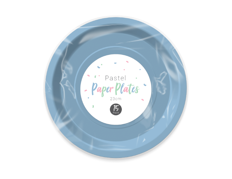 Pastel Disposable Paper Plates 23cm - 15 Pack (With PDQ)