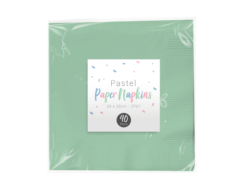 Pastel Disposable Paper Napkins 2 Ply - 40 Pack (With PDQ)