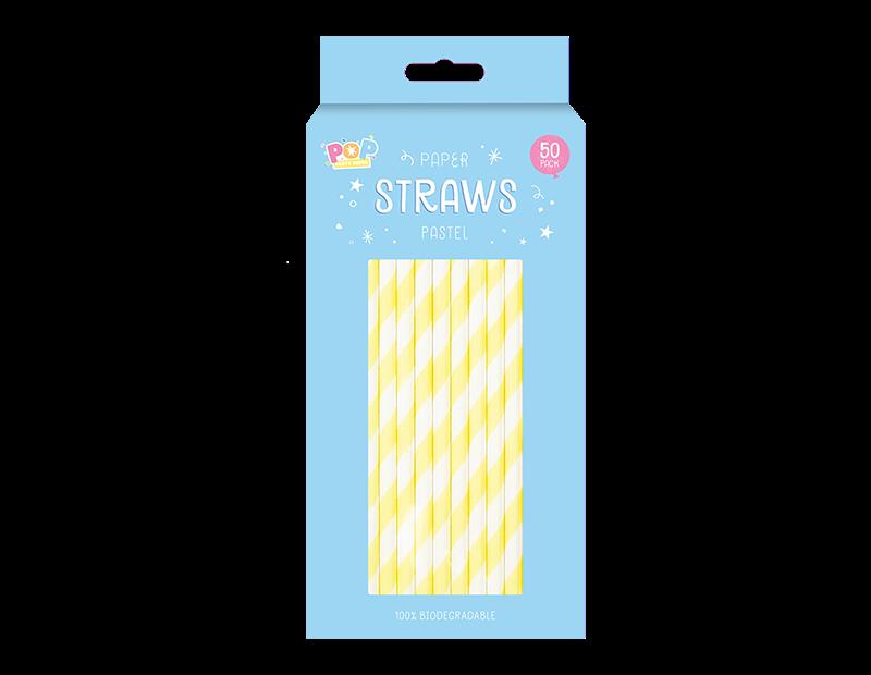 Paper Straws Pastel - 50 Pack