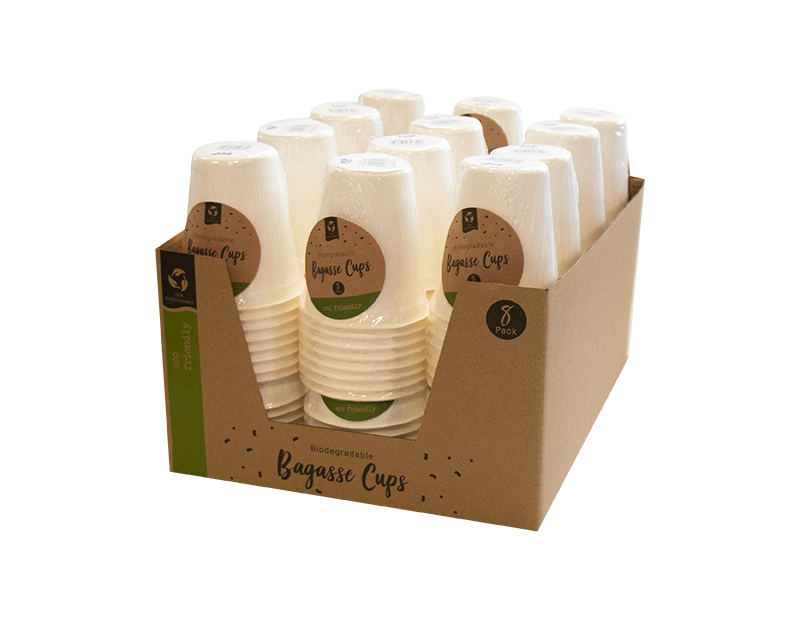 Biodegradable Bagasse Cups - 8 Pack (with PDQ)