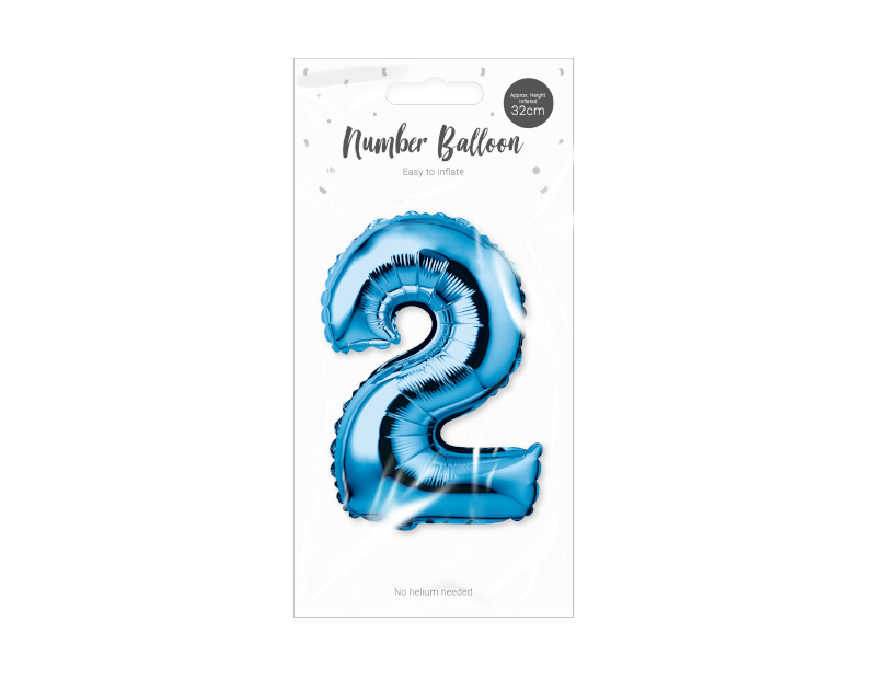 Blue Foil Number Balloon 32cm