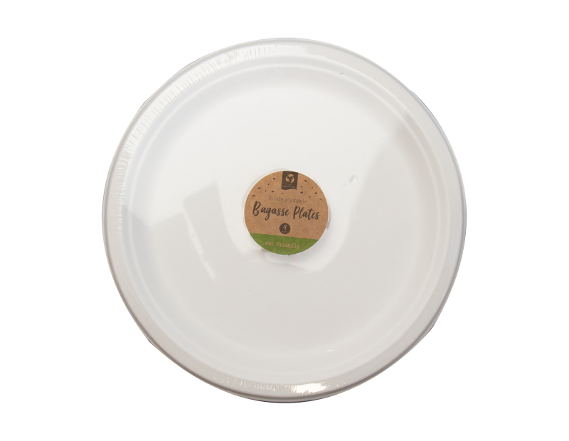 Biodegradable Bagasse Plates 26cm - 4 Pack (With PDQ)