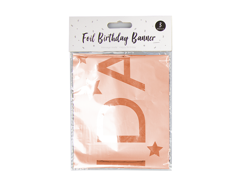 Metallic Foil Happy Birthday Banner 3m