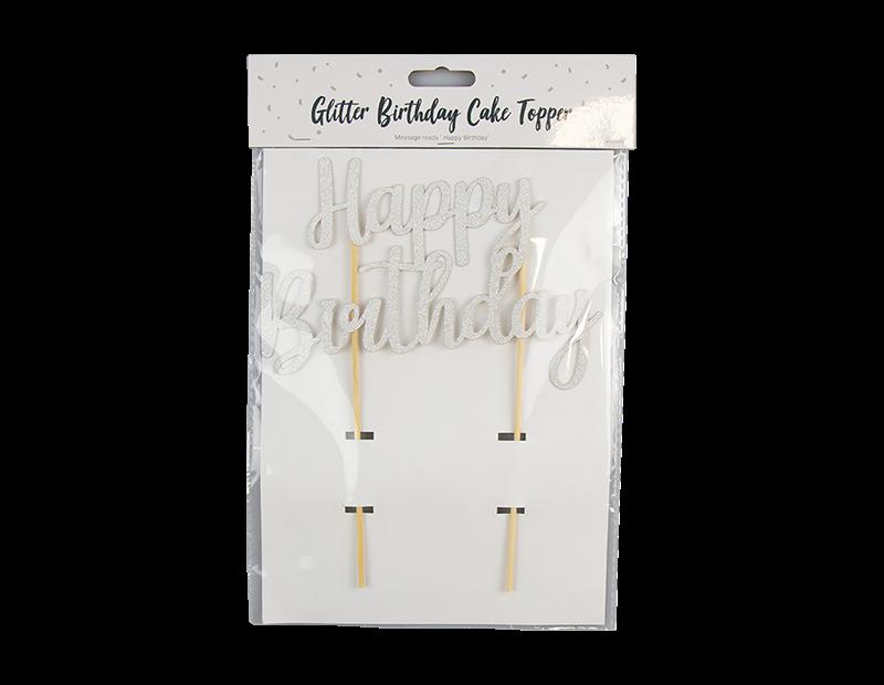 Metallic Glitter Happy Birthday Cake Topper