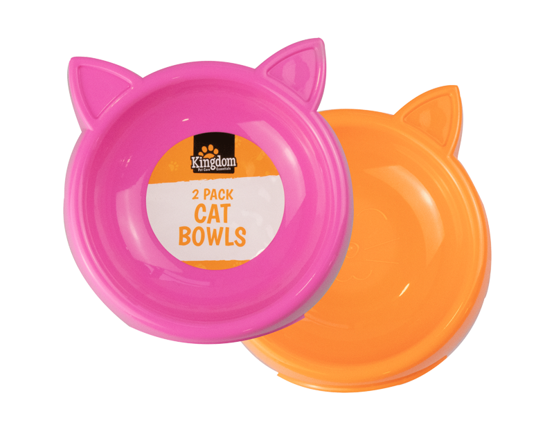 Kitty Shaped Cat Bowls - 2 Pack