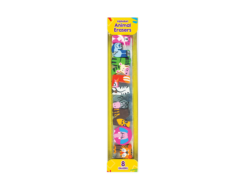 Alphabet Animal Erasers - 8 Pack (With PDQ)