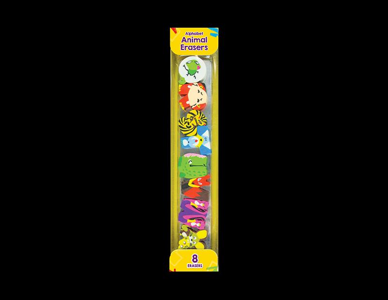 Alphabet Animal Erasers - 8 Pack