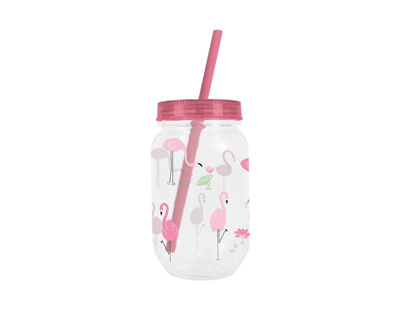Mason Drinking Jar & Straw 500ml