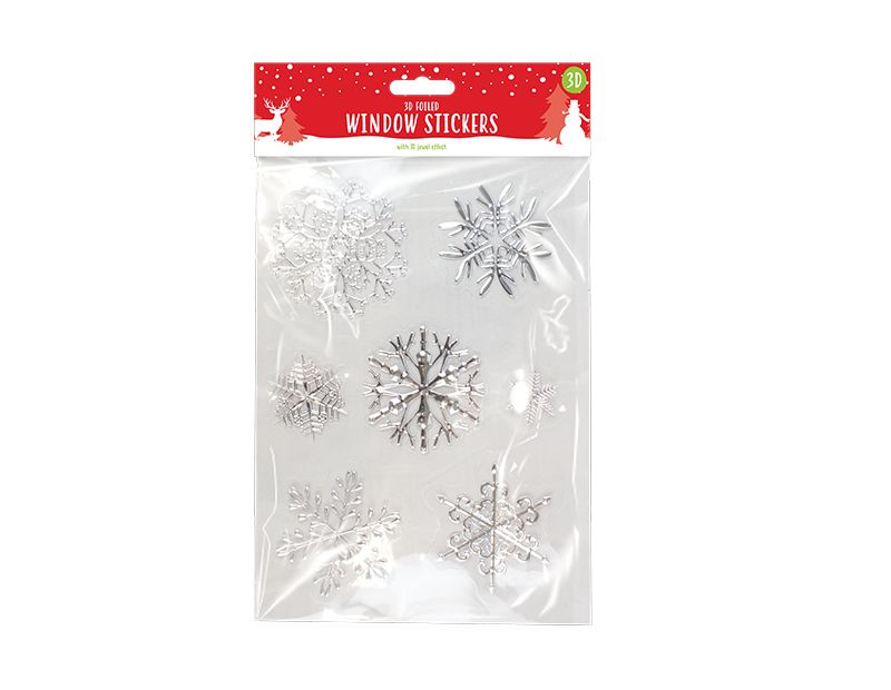 Christmas Foiled Snowflake Window Stickers