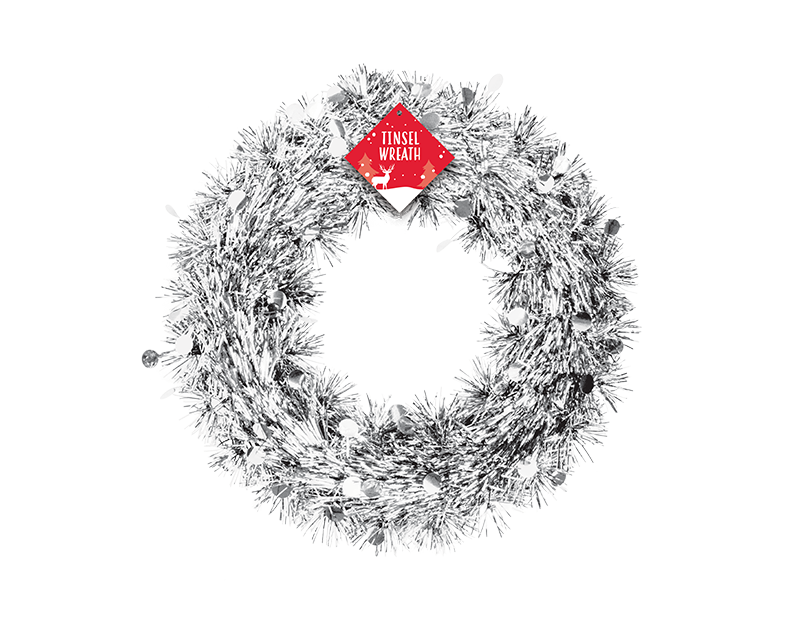 Christmas Tinsel Wreath 28cm