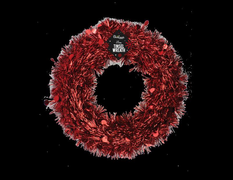Tinsel Christmas Wreath 28cm