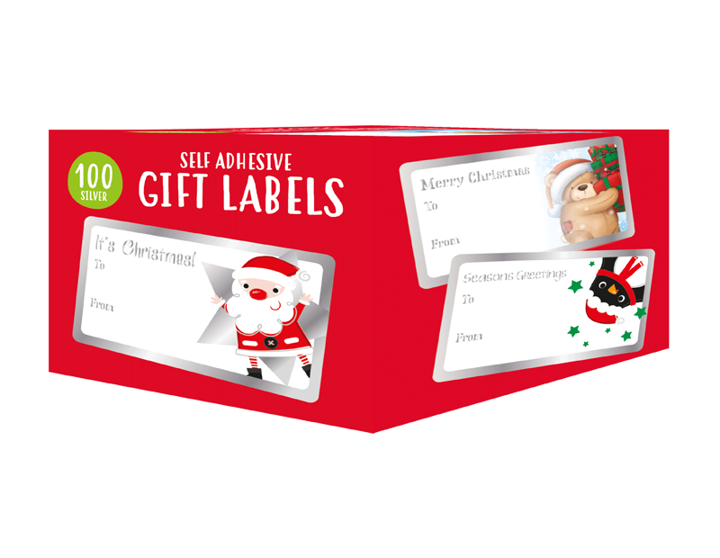 Christmas Foil Gift Labels - 100 Pack (With PDQ)