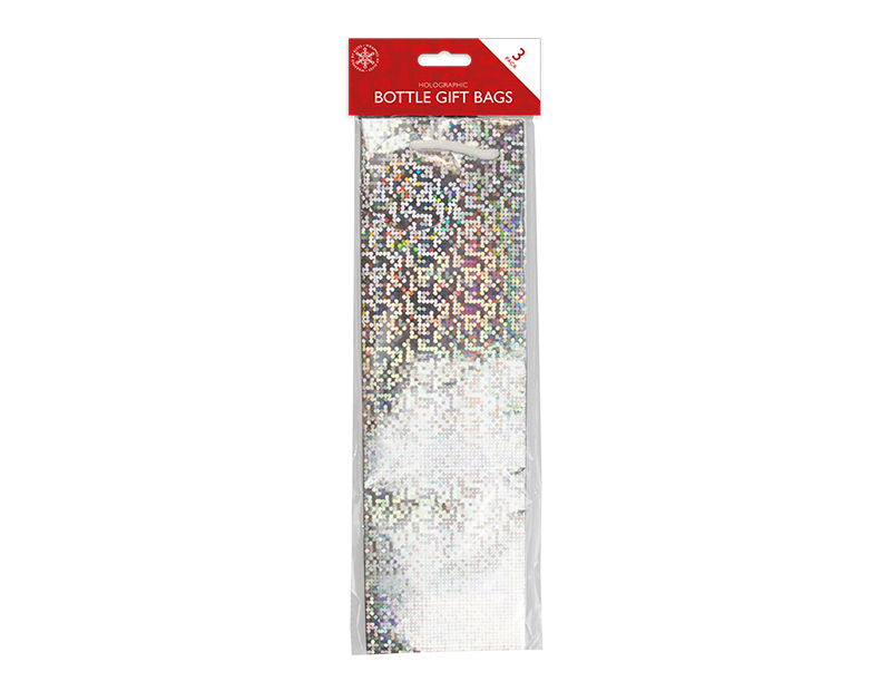 Christmas Holographic Bottle Bags - 3 Pack
