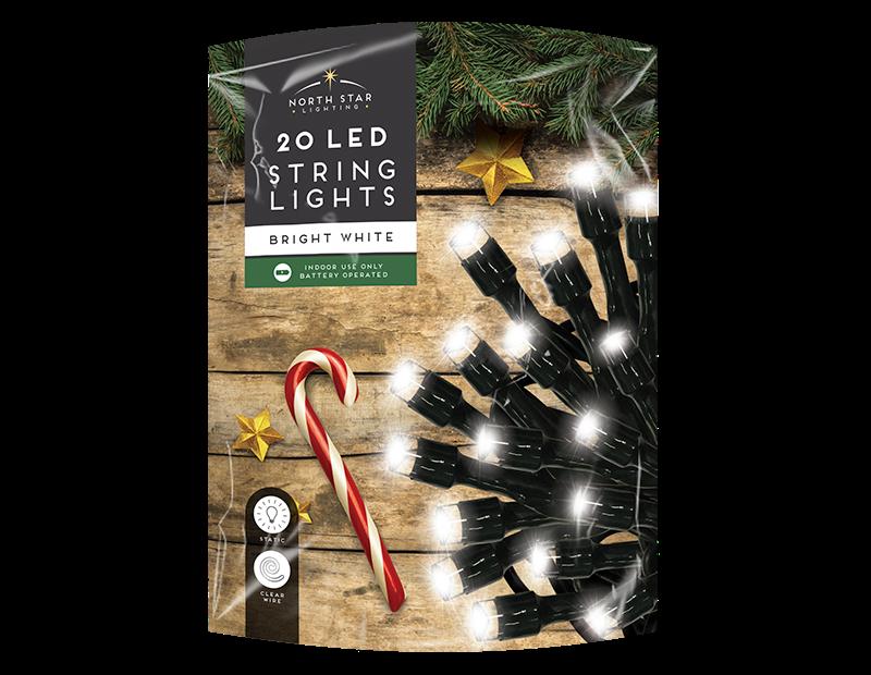 White LED Christmas String Lights  - 20 LEDs (With PDQ)