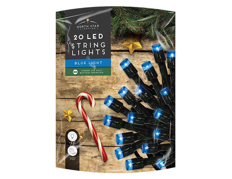 Red / Blue LED Christmas String Lights - 20 LEDs (With PDQ)