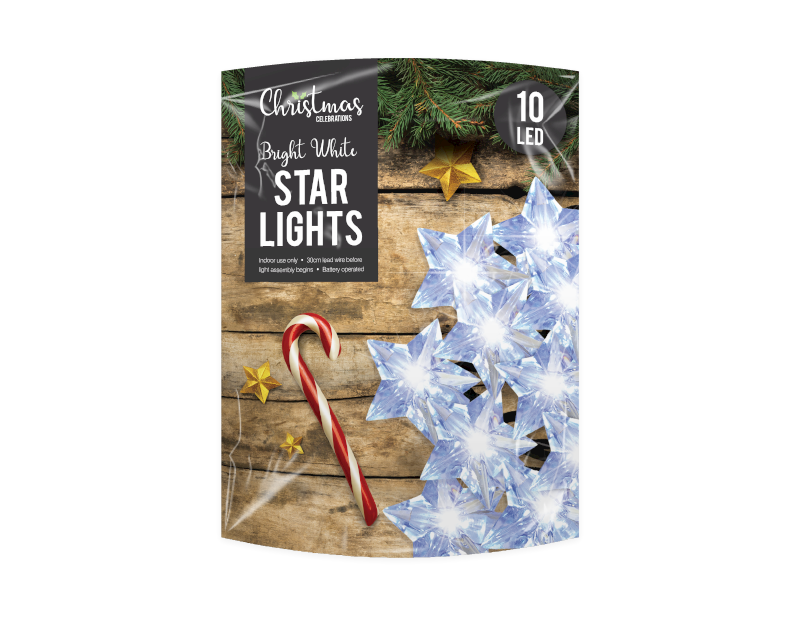 White LED Christmas Star String Lights - 10 LEDs (With PDQ)