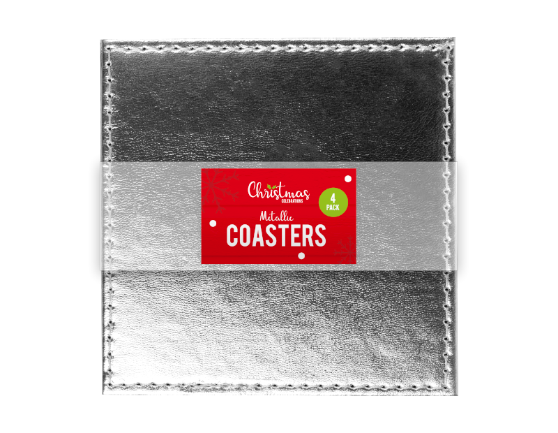 Metallic Christmas Coasters - 4 Pack