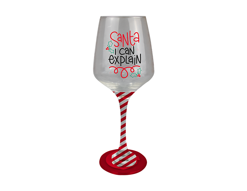 Christmas Hand Painted Wine Glass