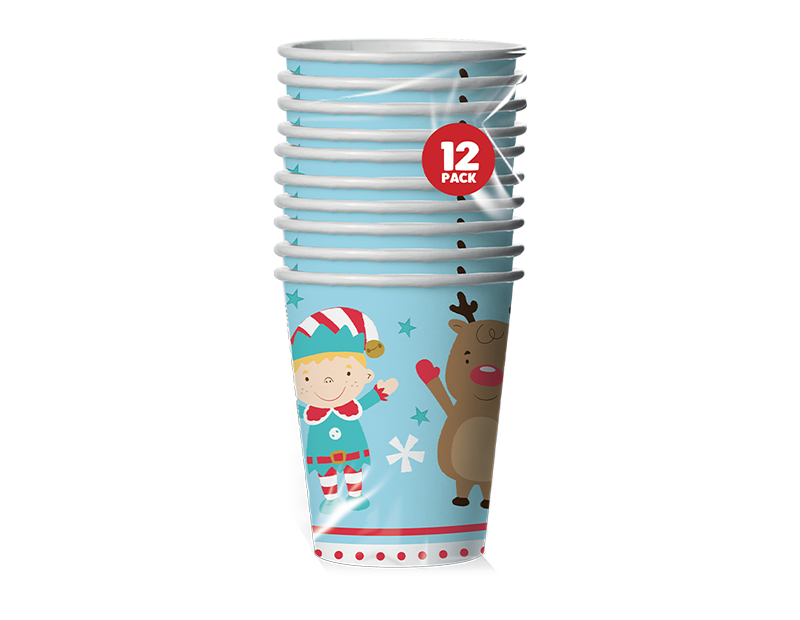 Christmas Paper Cups - 12 Pack (With PDQ)