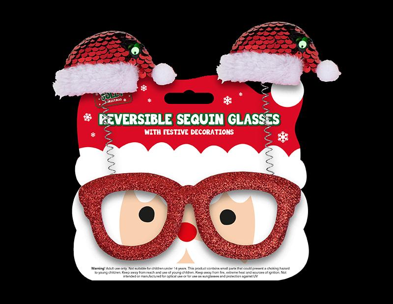 Reversible Sequin Christmas Glasses
