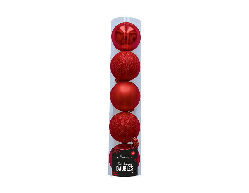 Red Baubles 6cm - 5 Pack (With PDQ)
