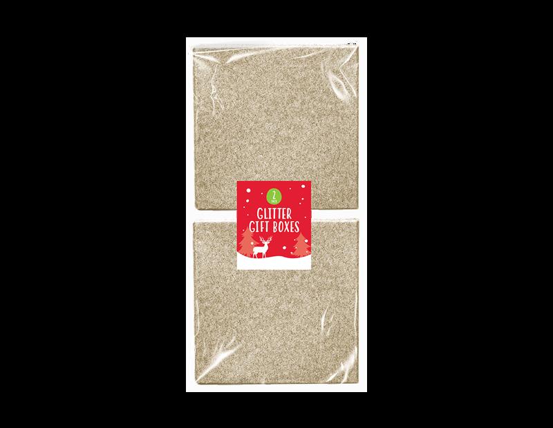 Mini Glitter Gift Box 2pk 10.8cm x 10.8cm