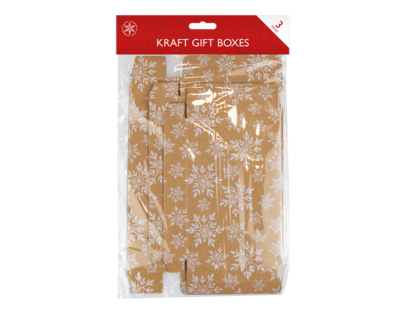 Kraft Printed Flat Pack Gift Boxes 3 Pack