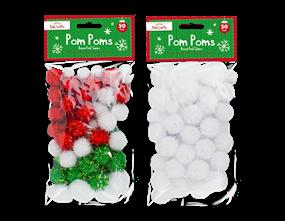 Christmas Craft Pom Poms - 50 Pack