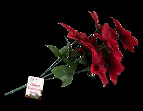 Wholesale Christmas Glittered Poinsettia Spray | Gem Imports Ltd