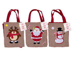 Wholesale Christmas Jute Bag With Felt Character | Gem Imports Ltd