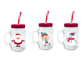 Wholesale Christmas Mason Jar & Straws | Gem Imports Ltd