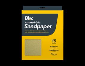 Assorted Grit Sandpaper - 15 Sheets
