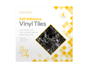 Dark Marble Self Adhesive Vinyl Tiles - 4 Pack