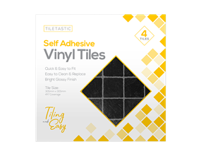 Dark Square Self Adhesive Vinyl Tiles - 4 Pack