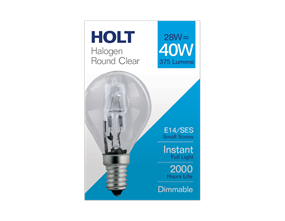 Halogen Clear Round Light Bulb 28w