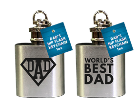 Father's Day 1oz Hip Flask Keychain PDQ
