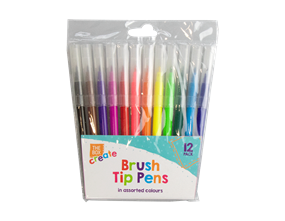 Fibre Tip Brush Pens - 12 Pack