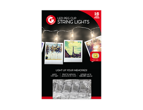 LED Peg Clip String Lights - 16 Piece