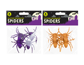 Halloween Glitter Spiders - 4 Pack
