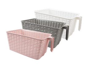 Wholesale Plastic Rattan Effect Storage Basket With Handle | Gem Imports Ltd