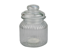 Ribbed Glass Jar with Lid 670ml