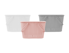 Plastic Woven Effect Basket with Handles - Trend