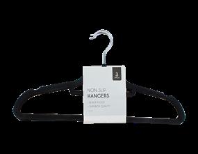 Black Flocked Non-Slip Hangers - 3 Pack