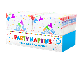 Party Paper Napkins 3 Ply - 20 Pack
