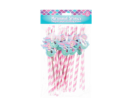 Mermaid Novelty Paper Straws - 20 Pack