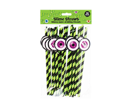 Slime Novelty Paper Straws - 20 Pack
