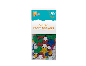 Glittered Foam Craft Stickers - 100 Pack