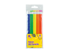 Neon HB Pencils With Erasers - 10 Pack