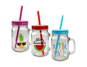Wholesale Summer Mason Drinking Jar with Handle | Gem Imports Ltd
