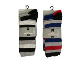 Wholesale Mens Stripe Ankle Socks | Gem Imports Ltd
